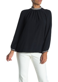 Trina Turk Vodka Long Sleeve Embellished Trim Blouse