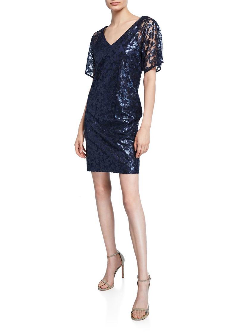 Trina Turk Volcano Floral Sequin Embellished V-Neck Short-Sleeve Sheath Dress
