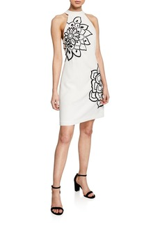 Trina Turk Wanderlust Halter Crepe Sheath Dress