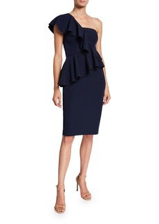 Trina Turk Waterfall One-Shoulder Ruffle Cocktail Dress