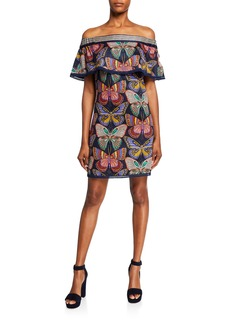 Trina Turk Welton Butterfly Off-the-Shoulder Dress