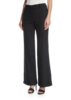 Trina Turk Wide-Leg Speckled Wool-Silk Trousers