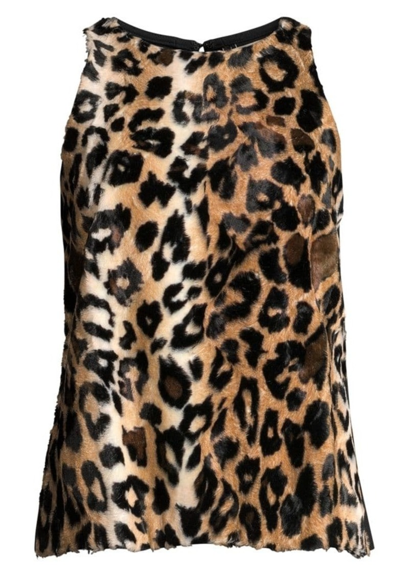 Trina Turk Wine Country Mill Creek Leopard Faux Fur Sleeveless Top
