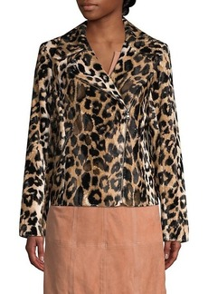 Trina Turk Wine Country Reprise Leopard Faux Fur Moto Jacket