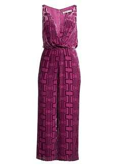 Trina Turk Wine Country Sauvignon Burnout Velvet Jumpsuit