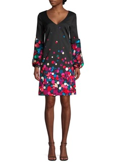 Trina Turk Winterluxe Bubbly Peasant Sleeve Graphic Shift Dress