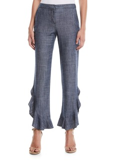Trina Turk Zacatecas Chambray Pants w/ Ruffles