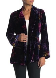 Trina Turk Zappa Floral Print Velour Waist Tie Jacket