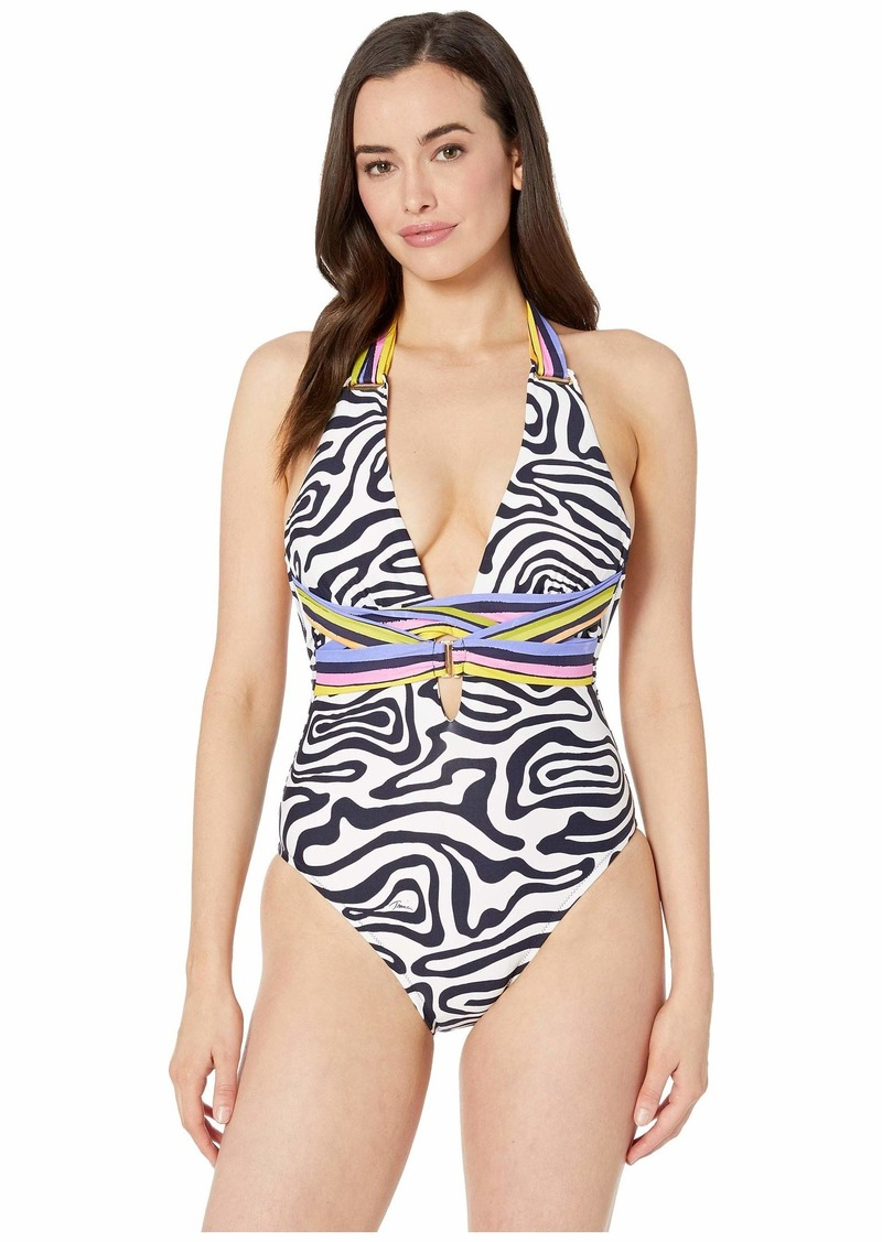 Trina Turk Zebra Cross-Back One-Piece Swimsuit