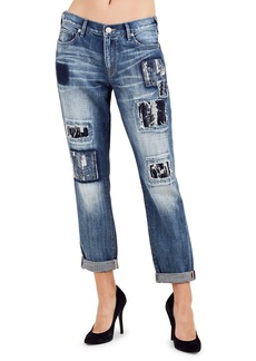True Religion Cameron Jacquard Patch Distressed Straight-Leg Jeans