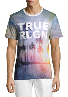 True Religion Cotton Sunset Palm Tree T-Shirt