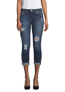 True Religion Distressed Curvy Capri Jeans