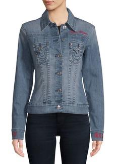 True Religion Embroidered Trucker Denim Jacket
