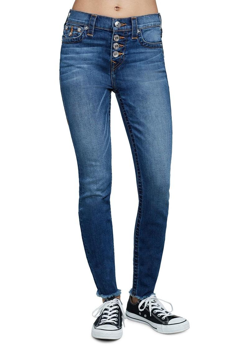 True Religion High-Rise Raw-Hem Super Skinny Jeans w/ Button Fly