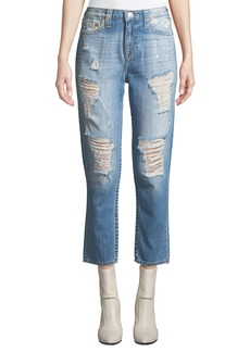 True Religion High-Waist Distressed Boyfriend Jeans
