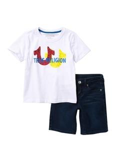 True Religion Horseshoe Cross T-Shirt & Denim Shorts (Toddler Boys)