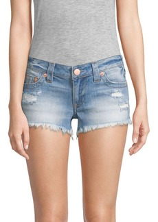 True Religion Joey Flap Cut-Off Denim Shorts