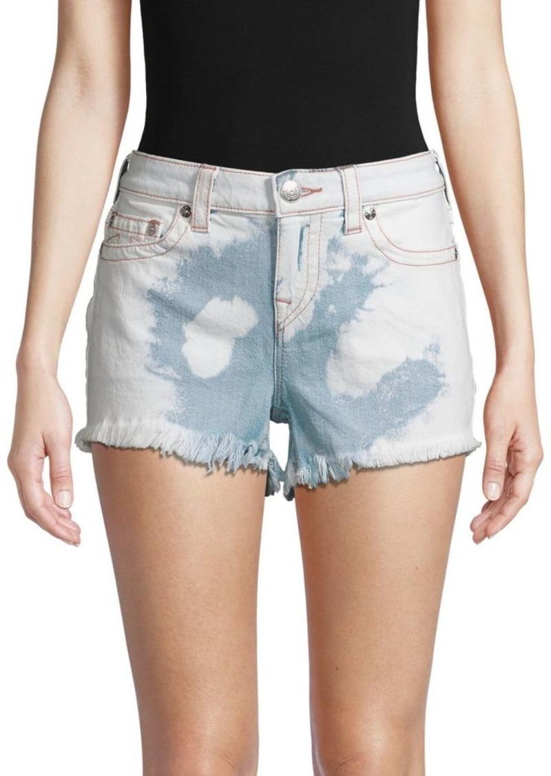 True Religion Keira Mid-Rise Cutoff Acid-Wash Denim Shorts