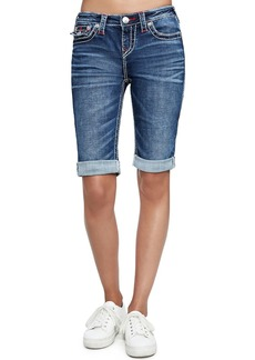 True Religion Knee-Length Rolled Denim Shorts