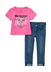 True Religion Logo T-shirt & Jeggings Set (Toddler Girls)