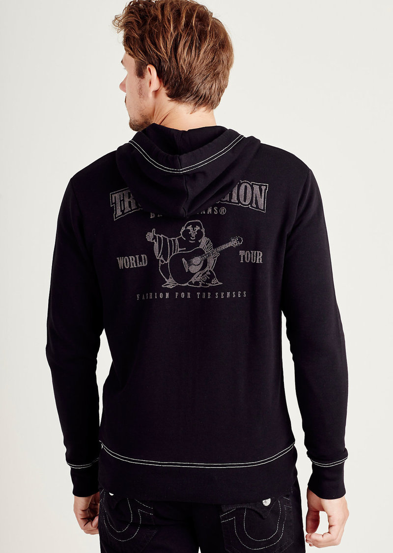 True Religion MENS FLOCKED BUDDHA ZIP UP HOODIE