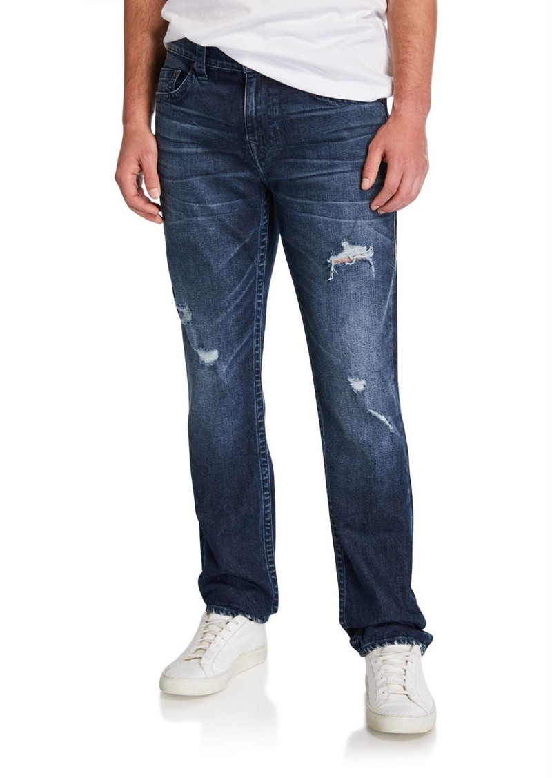 True Religion Men's Geno Distressed Straight-Leg Jeans