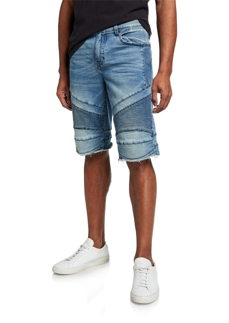 True Religion Men's Geno Moto Low Frequency Slim Denim Shorts