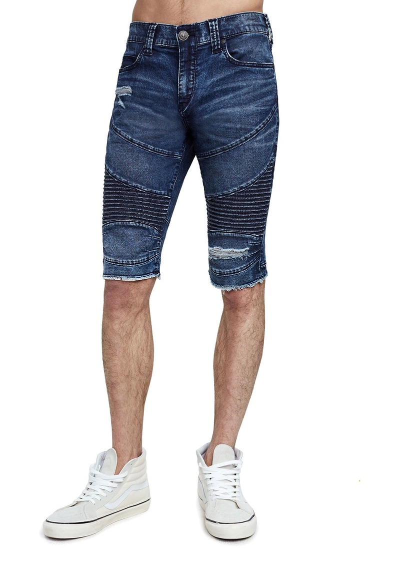 True Religion Men's Geno Moto Slim Denim Shorts