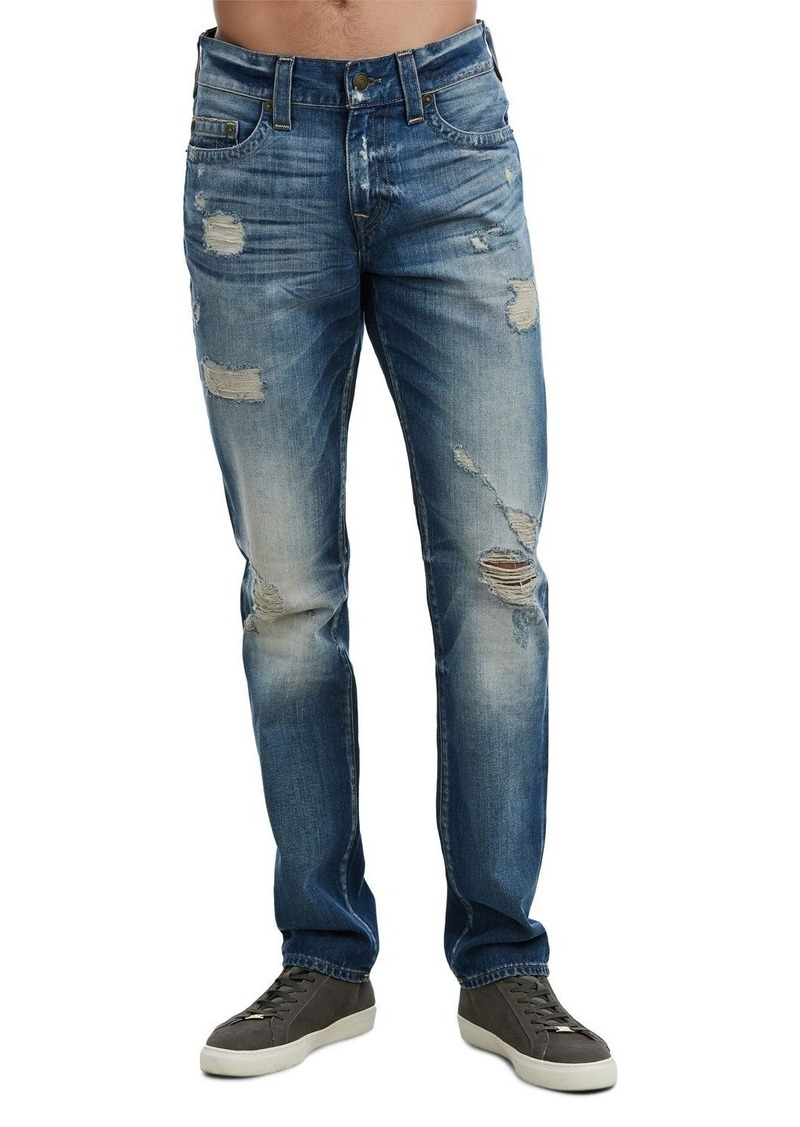 True Religion Men's Geno Worn Rebel Distressed Jeans