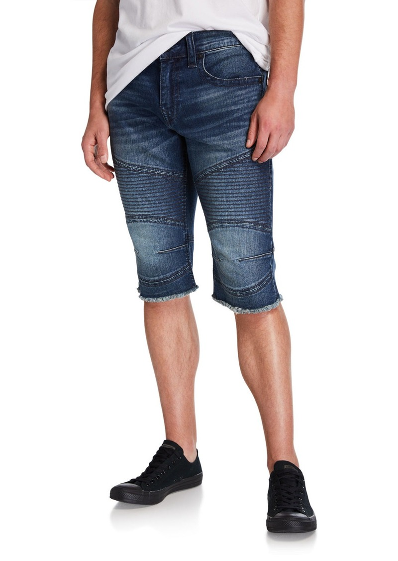 True Religion Men's Moto Slim Denim Shorts