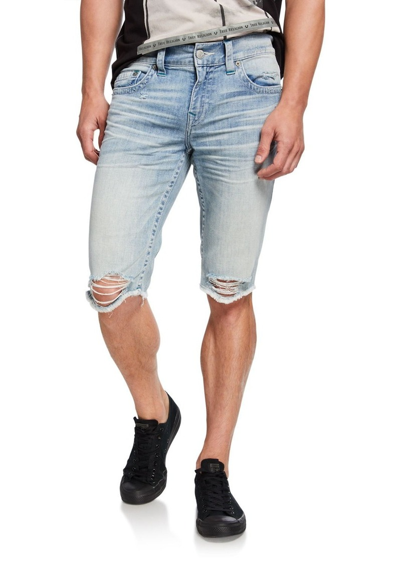 True Religion Men's Ricky Distressed Denim Shorts