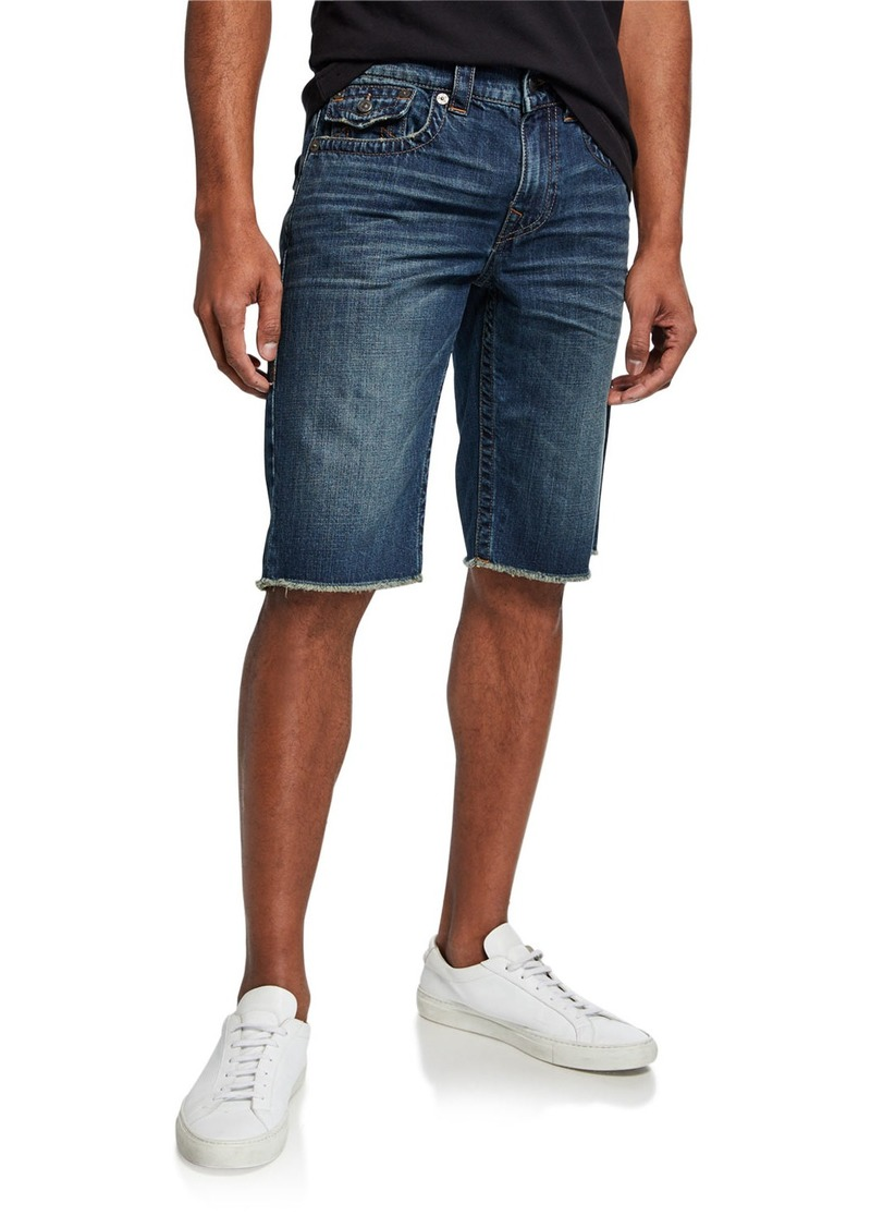 True Religion Men's Ricky Flap-Pocket Denim Shorts