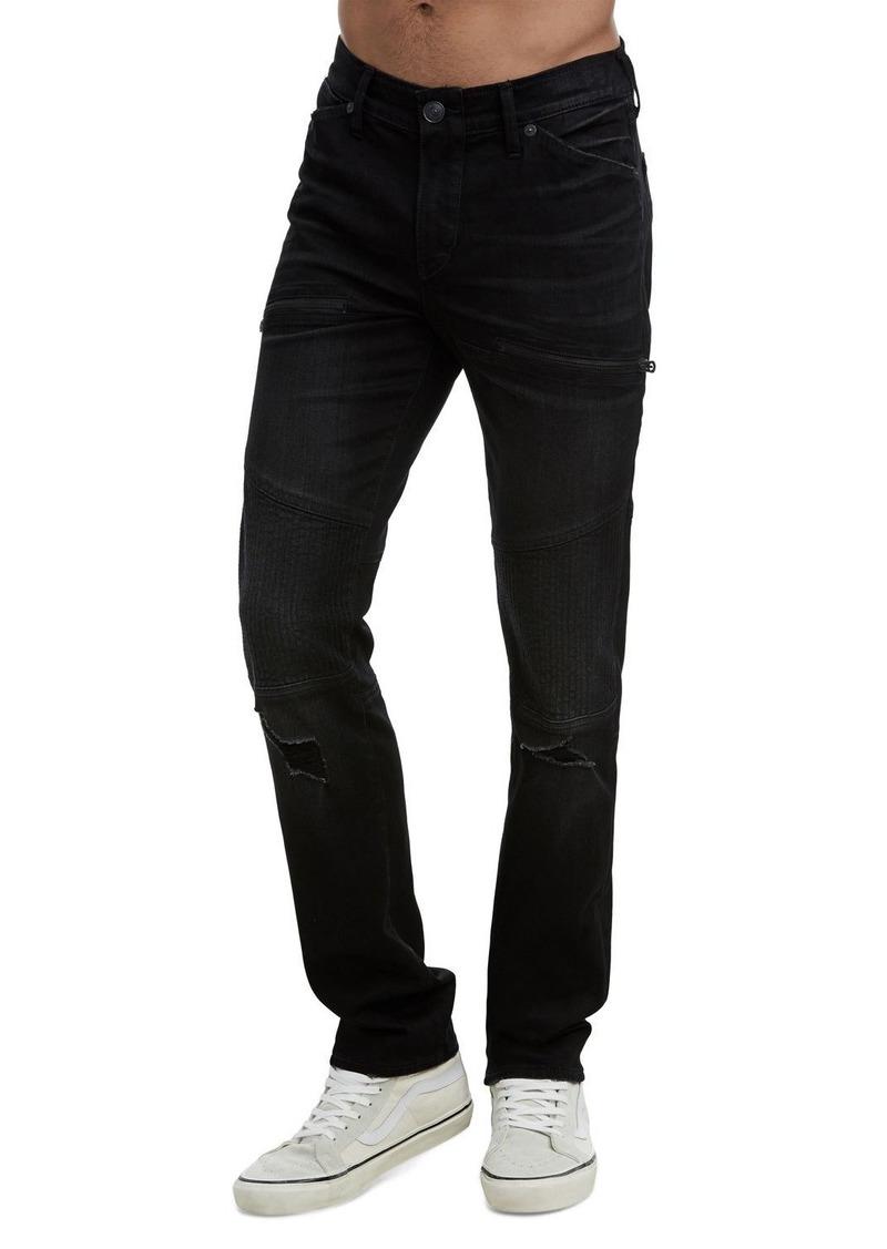 True Religion Men's Rocco Moto Coal Mine Jeans