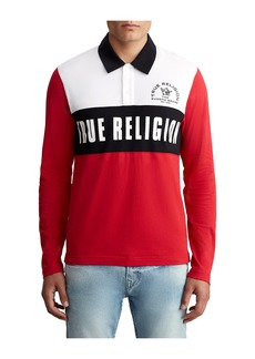 True Religion MENS TRI RUGBY POLO SHIRT