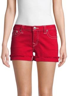 True Religion Mid-Rise Frayed Denim Shorts