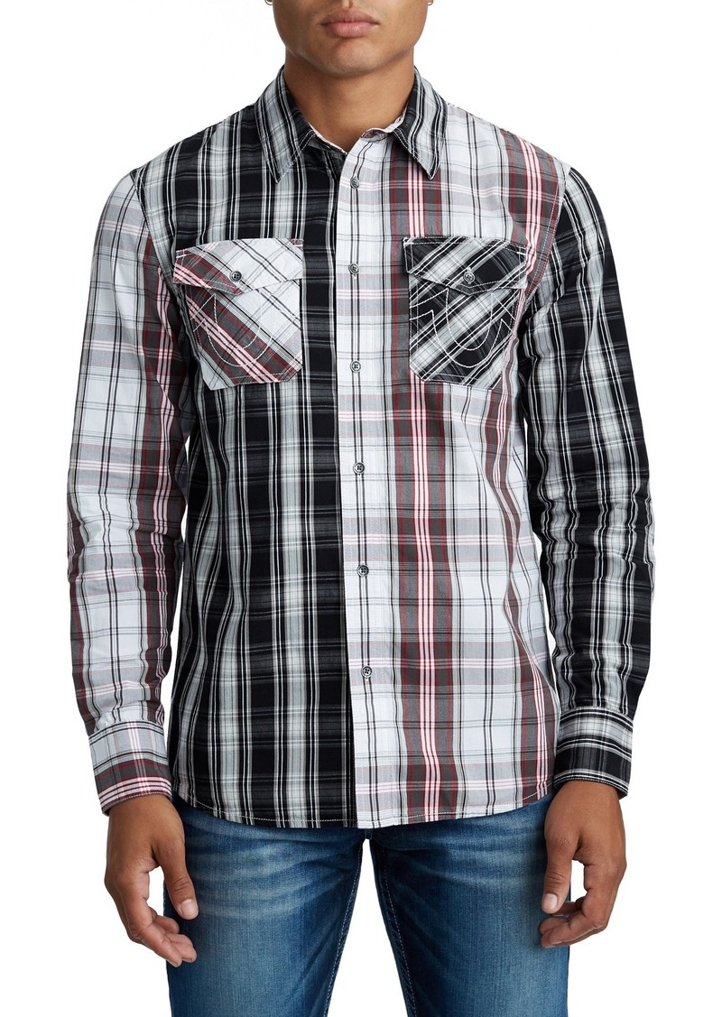 True Religion Panel Plaid Print Slim Fit Shirt