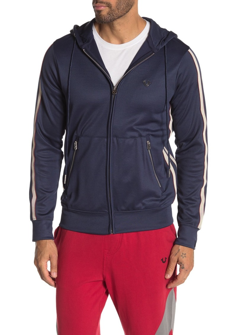 True Religion Racer Stripe Zip-Up Hoodie