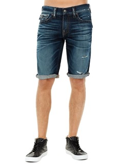 True Religion Ricky Flap-Pocket Rolled-Cuff Denim Shorts