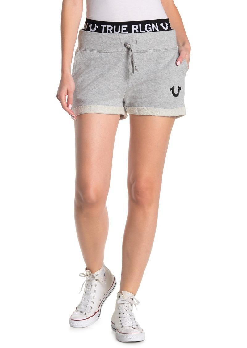 True Religion Roll Cuff Logo Elastic Shorts