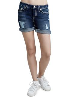 True Religion Rolled Denim Mid-Thigh Shorts