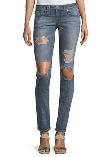 True Religion Skinny Flap-Pocket Fossil Denim Jeans