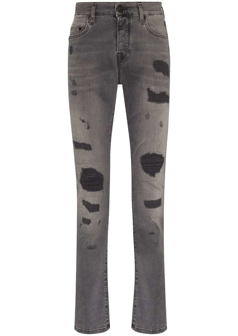 True Religion slim-fit Rocco patch jeans
