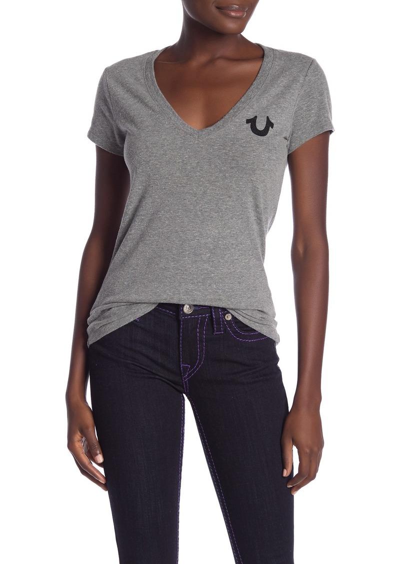 True Religion Sparkly Graphic Logo V-Neck T-Shirt