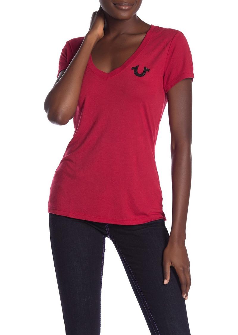 True Religion Sparkly Logo V-Neck T-Shirt