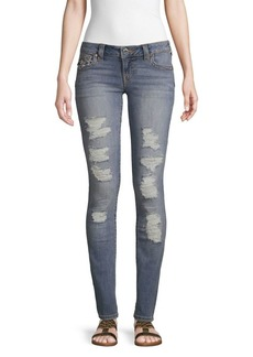 True Religion Stella Distressed Low-Rise Skinny Jeans