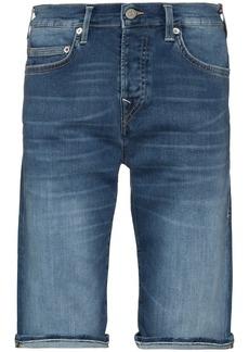 True Religion stonewashed turn-up hem denim shorts