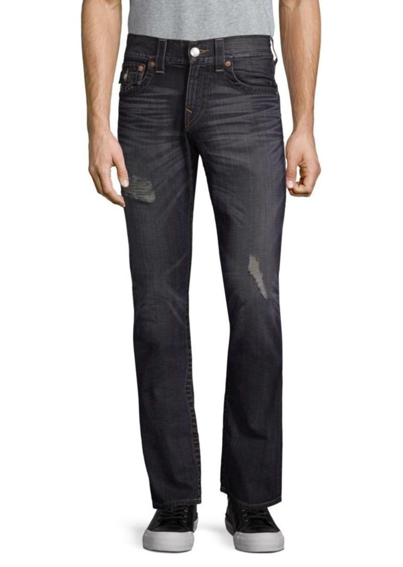 True Religion Straight-Leg Distressed Jeans