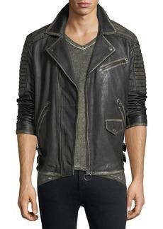 True Religion Aged Leather Biker Jacket