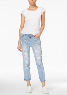True Religion Audrey Cotton Embellished Boyfriend Jeans
