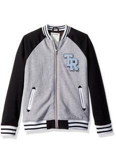 True Religion Boys' Big Varsity Jacket Heather Grey XL